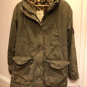 Zara utility jacket with leopard lining